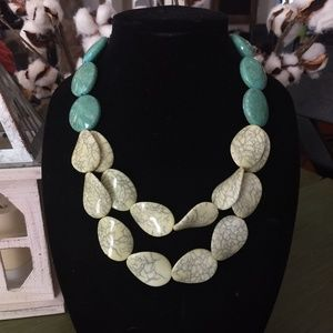 Pale yellow and aqua bead statement necklace